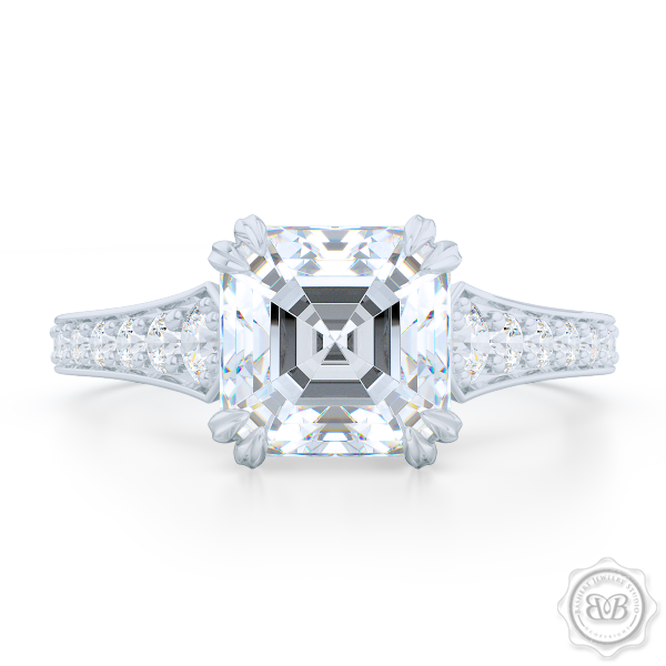 Vintage-Inspired Asscher Cut Moissanite Solitaire Engagement Ring handcrafted in White Gold or Precious Platinum. Bead-Set Diamond Shoulders. Forever One Charles & Colvard Asscher-cut Moissanite. Free Shipping USA. 30-Day Returns | BASHERT JEWELRY | Boca Raton, Florida.