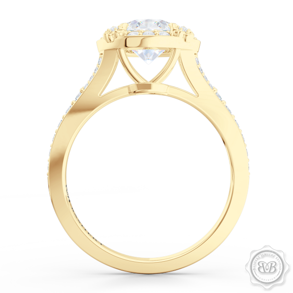 Award-Winning Round Halo Engagement Ring, crafted in Classic Yellow Gold and round brilliant Moissanite by Charles & Colvard. Signature Floret Prongs, Encrusted with Round Diamonds. Dazzling Baby-Split Bead-Set Shoulders. Free Shipping USA. 30Day Returns | BASHERT JEWELRY | Boca Raton Florida