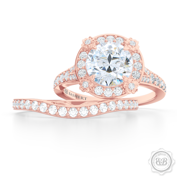 Elegantly Curved Diamond Wedding Band. Classic Bead-Set Diamonds. Handcrafted in Romantic Rose Gold. Halo Engagement Ring Set. Free Shipping for All USA Orders. 30Day Returns | BASHERT JEWELRY | Boca Raton, Florida