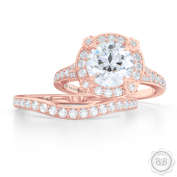 Award-Winning Round Halo Engagement Ring, crafted in Romantic Rose Gold and GIA certified, round brilliant Diamond. Signature Floret Prongs, Encrusted with Round Diamonds. Dazzling Baby-Split Bead-Set Shoulders. Free Shipping USA. 30Day Returns | BASHERT JEWELRY | Boca Raton Florida