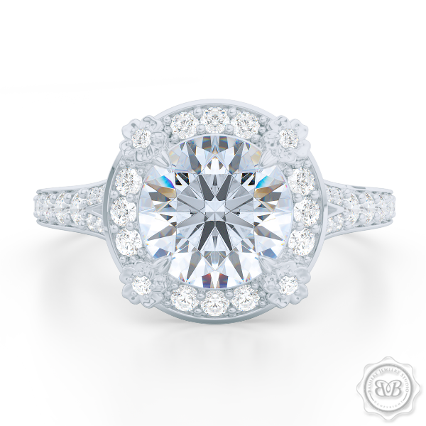 Flower inspired round Halo Engagement ring, set in White Gold or Platinum. Signature floret prongs, dazzling baby-split ring shoulders. Round Brilliant, GIA certified center Diamond.  Free Shipping USA. 30-Day Returns | BASHERT JEWELRY | Boca Raton, Florida.