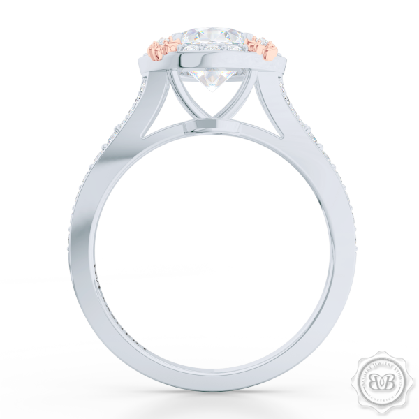 Award-Winning Round Halo Engagement Ring Design Set in White Gold or Platinum. Signature Rose Gold Floret Prongs, Encrusted with Round Diamonds. Dazzling Baby-Split Bead-Set Shoulders. Find a GIA Certified Diamond Tailored to Your Budget. This Design Offers a Matching Bead-Set Diamond Wedding Band For Her. Free Shipping USA. 30Day Returns | BASHERT JEWELRY | Boca Raton Florida