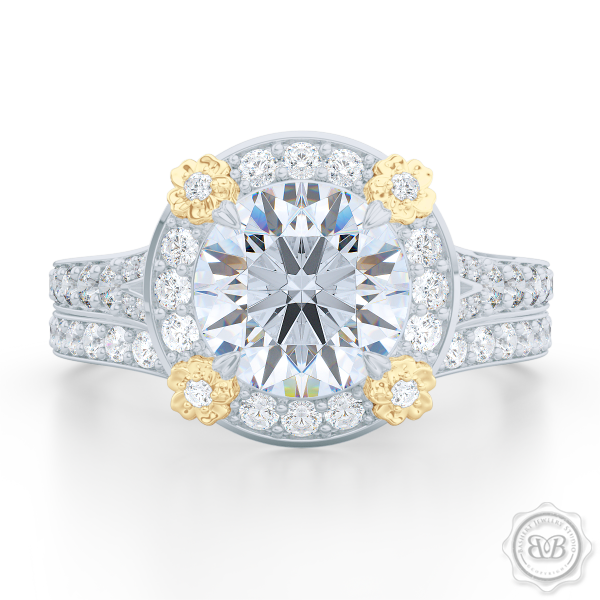 Round Halo Engagement ring, set in White Gold or Platinum. Signature floret prongs, dazzling baby-split ring shoulders. GIA certified Round Brilliant Diamond.  Free Shipping USA. 30-Day Returns | BASHERT JEWELRY | Boca Raton, Florida.