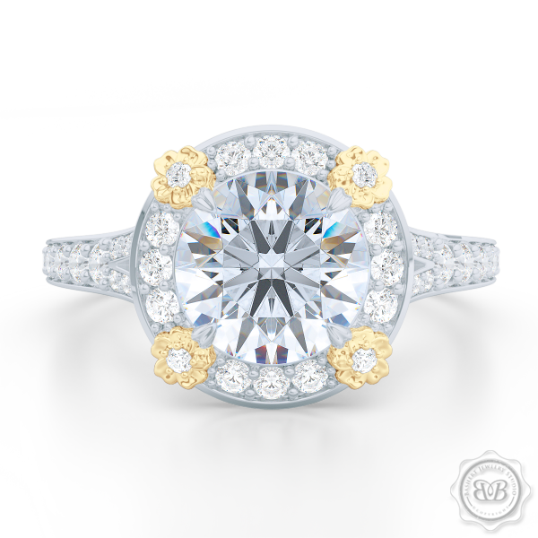 Round Moissanite Halo Engagement ring, set in White Gold or Platinum. Signature floret prongs, dazzling baby-split ring shoulders.  Free Shipping USA. 30-Day Returns | BASHERT JEWELRY | Boca Raton, Florida.