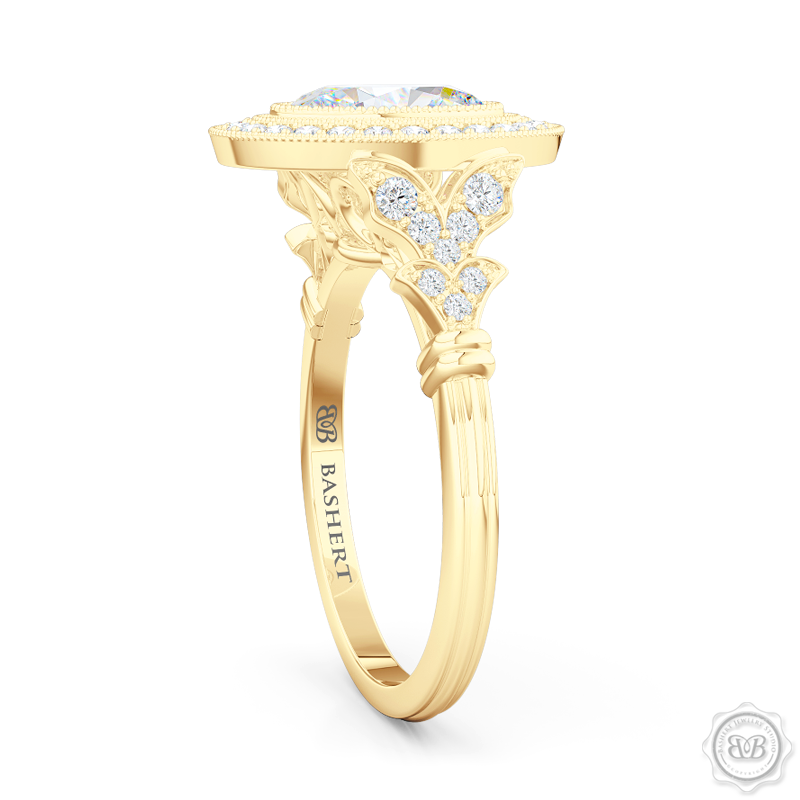 A Vintage Inspired Floating Halo Engagement Ring. Handcrafted in Classic Yellow Gold. Oval GIA certified Diamond. Classic french milgrain. Refine art-deco silhouette. Free Shipping on All USA Orders. 30-Day Returns | BASHERT JEWELRY | Boca Raton, Florida