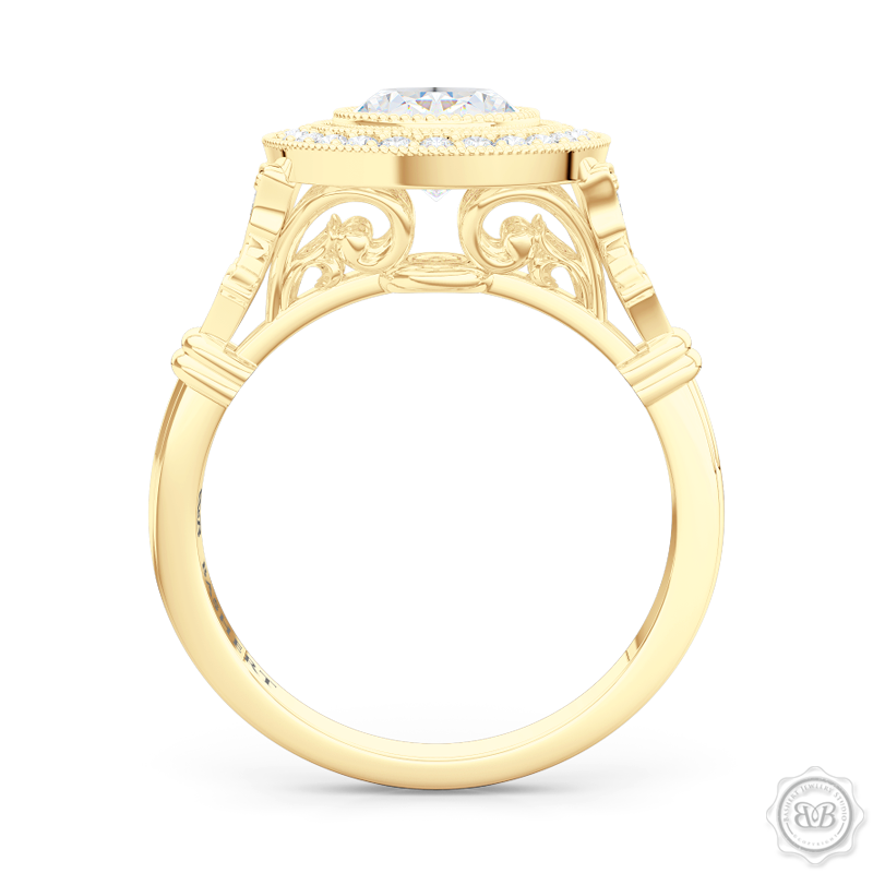 A Vintage Inspired  Floating Halo Engagement Ring. Handcrafted in Classic Yellow Gold and Oval , GIA certified Diamond. Halo crown and shoulders finished in classic french milgrain, bringing a refine art-deco silhouette to this design.  Free Shipping on All USA Orders. 30-Day Returns | BASHERT JEWELRY | Boca Raton, Florida