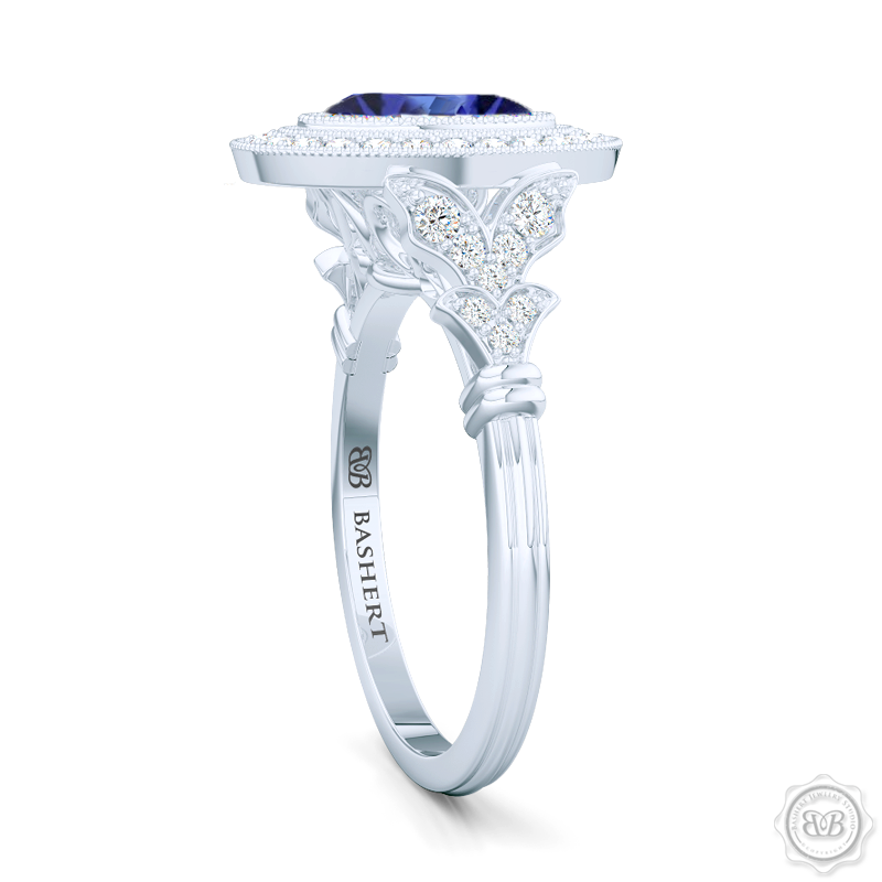 A Vintage Inspired  Floating Halo Engagement Ring. Handcrafted in Platinum or White  Gold and Oval Royal Blue Sapphire. Halo and shoulders finished in classic french milgrain, bringing a refine art-deco silhouette to this design.  Free Shipping on All USA Orders. 30-Day Returns | BASHERT JEWELRY | Boca Raton, Florida