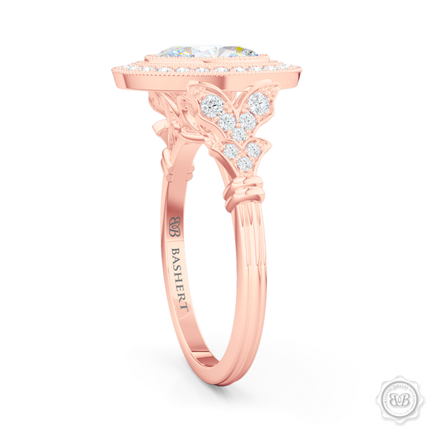 A Vintage Inspired  Floating Halo Engagement Ring. Handcrafted in Romantic Rose Gold and Oval , GIA certified Diamond. Halo crown and shoulders finished in classic french milgrain, bringing a refine art-deco silhouette to this design.  Free Shipping on All USA Orders. 30-Day Returns | BASHERT JEWELRY | Boca Raton, Florida