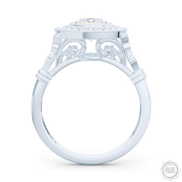 A Vintage Inspired  Floating Halo Engagement Ring. Handcrafted in Platinum or White Gold. Oval GIA certified Diamond. Classic french milgrain. Refine art-deco silhouette. Free Shipping on All USA Orders. 30-Day Returns | BASHERT JEWELRY | Boca Raton, Florida
