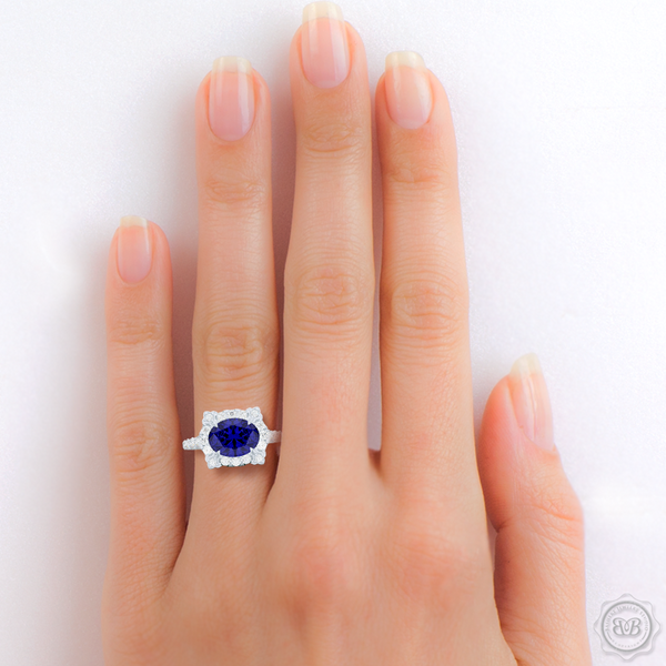 Unique, Nature-Inspired East-West Oval Halo Engagement Ring.  Handcrafted in Precious Platinum or White Gold. Oval Royal Blue Sapphire, Tailored for Your Budget. Free Shipping USA. 30-Day Returns | BASHERT JEWELRY | Boca Raton, Florida