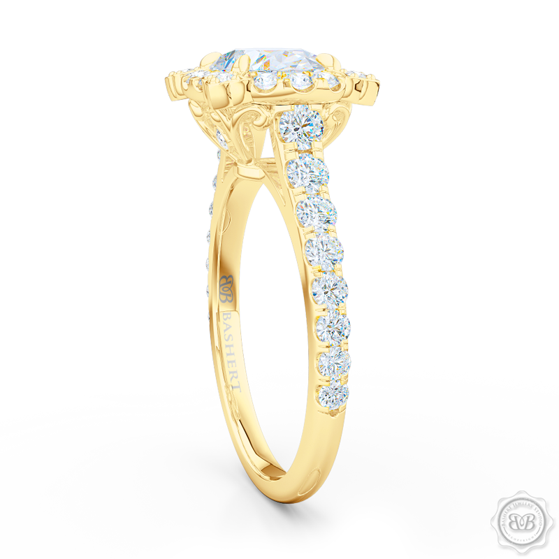 Unique, Nature-Inspired East-West Oval Halo Engagement Ring.  Handcrafted in Classic Yellow Gold. GIA Certified Oval Diamond Tailored for Your Budget. Free Shipping USA. 30-Day Returns | BASHERT JEWELRY | Boca Raton, Florida