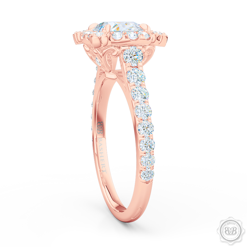 Unique, Nature-Inspired East-West Oval Halo Engagement Ring.  Handcrafted in Romantic Rose Gold. GIA Certified Oval Diamond Tailored for Your Budget. Free Shipping USA. 30-Day Returns | BASHERT JEWELRY | Boca Raton, Florida
