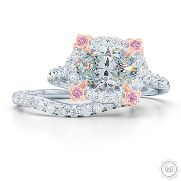Unique, Nature-Inspired East-West Oval Halo Engagement Ring.  Handcrafted in Bright White Gold or Platinum. Tulip-floret prongs crafted in Romantic Rose Gold and Fancy, Vivid Pink Diamonds. GIA Certified Oval Diamond Tailored for Your Budget. Free Shipping USA. 30-Day Returns | BASHERT JEWELRY | Boca Raton, Florida
