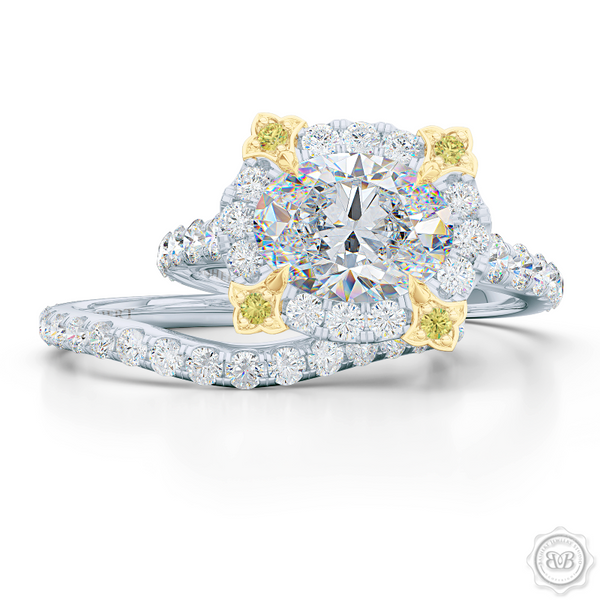 Unique, Nature-Inspired East-West Oval Halo Engagement Ring.  Handcrafted in Bright White Gold or Platinum. Tulip-floret prongs crafted in Classic Yellow Gold and Fancy, Vivid Yellow Diamonds. GIA Certified Oval Diamond Tailored for Your Budget. Free Shipping USA. 30-Day Returns | BASHERT JEWELRY | Boca Raton, Florida