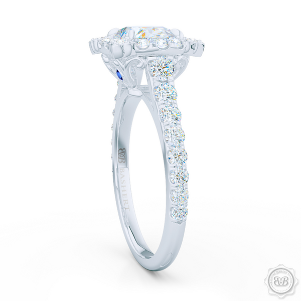 Unique, Nature-Inspired East-West Oval Halo Engagement Ring.  Handcrafted in Precious Platinum or White Gold. GIA Certified Oval Diamond Tailored for Your Budget. Free Shipping USA. 30-Day Returns | BASHERT JEWELRY | Boca Raton, Florida