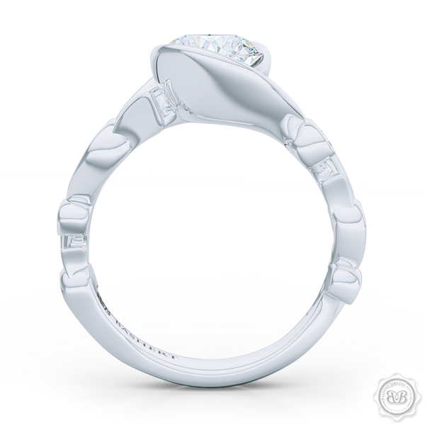 Elegant Wrap-Around Rose-Vine Solitaire Engagement Ring, crafted in White Gold or Precious Platinum. GIA Certified Diamond. Free Shipping USA.  30-Day Returns | BASHERT JEWELRY | Boca Raton, Florida.