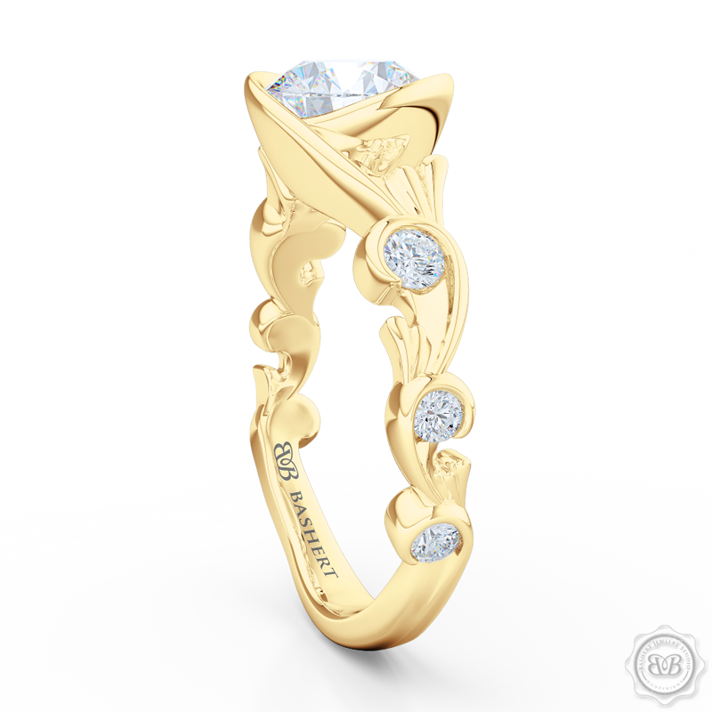 Elegant Wrap-Around Rose-Vine Solitaire Engagement Ring, crafted in Classic Yellow Gold. GIA Certified Diamond. Free Shipping USA.  30-Day Returns | BASHERT JEWELRY | Boca Raton, Florida.