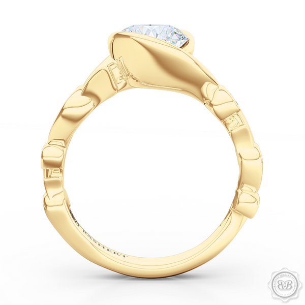 Elegant Wrap-Around Rose Vine Solitaire Engagement Ring. Handcrafted in Classic Yellow Gold. GIA Certified Diamonds Tailored for Your Budget. This Design Offers a Matching Three-Row, Rose Vine Motif Diamond Wedding Band For Her. Free Shipping USA.  30Day Returns | BASHERT JEWELRY | Boca Raton Florida