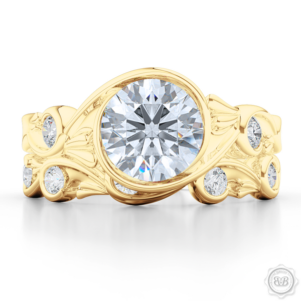 Elegant Wrap-Around Rose-Vine Solitaire Engagement Ring, crafted in Classic Yellow Gold. Charles & Colvard Round Brilliant Forever One Moissanite. Free Shipping USA.  30-Day Returns | BASHERT JEWELRY | Boca Raton, Florida.