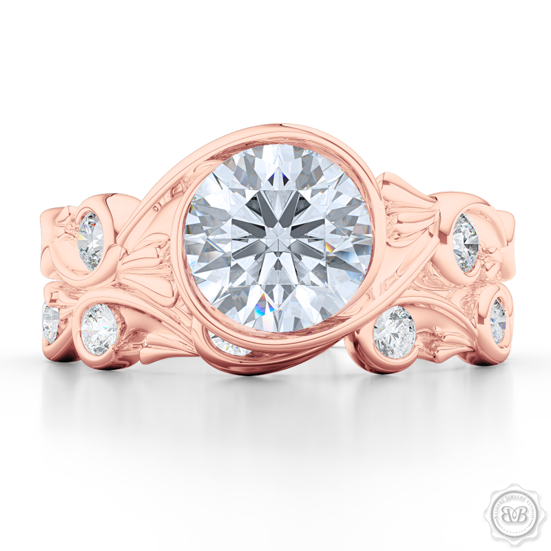 Elegant Wrap-Around Rose-Vine Solitaire Engagement Ring, crafted in Romantic Rose Gold. Charles & Colvard Round Brilliant Forever One Moissanite. Free Shipping USA.  30-Day Returns | BASHERT JEWELRY | Boca Raton, Florida.