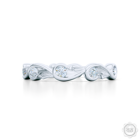 Rose-Vine Motif Eternity Diamond Wedding Band. Handcrafted in White Gold or Platinum, and adorned with Round Brilliant  Diamonds. Free Shipping for All USA Orders. 30 Day Returns | BASHERT JEWELRY | Boca Raton, Florida