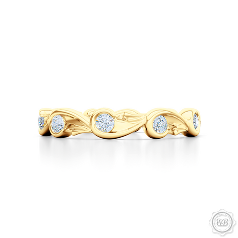 Rose-Vine Motif Eternity Diamond Wedding Band. Handcrafted in Classic Yellow Gold, and adorned with Round Brilliant  Diamonds. Free Shipping for All USA Orders. 30 Day Returns | BASHERT JEWELRY | Boca Raton, Florida