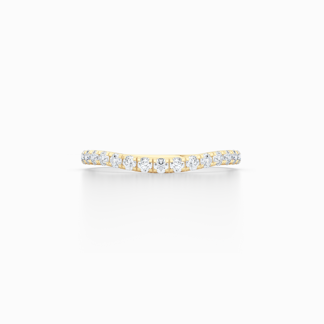 Diamond Wave Wedding Band with a whisper-thin silhouette. Hand-fabricated in solid, sustainable Yellow Gold. Free Shipping for all USA Orders. 15-Day Returns | BASHERT JEWELRY | Boca Raton, Florida