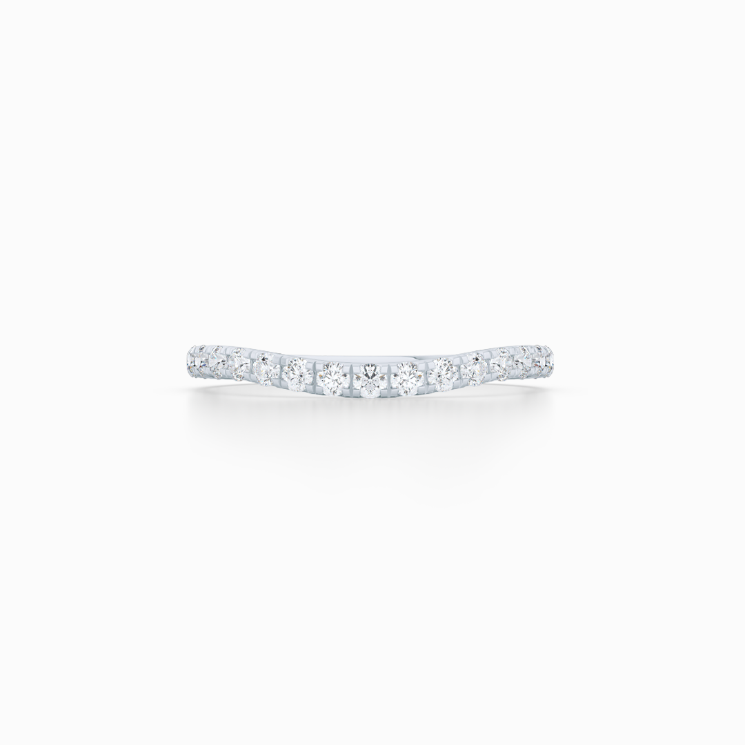 Diamond Wave Wedding Band with a whisper-thin silhouette. Hand-fabricated in solid, sustainable Precious Platinum. Free Shipping for all USA Orders. 15-Day Returns | BASHERT JEWELRY | Boca Raton, Florida