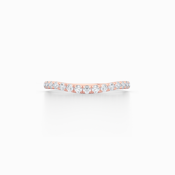 Diamond Wave Wedding Band with a whisper-thin silhouette. Hand-fabricated in solid, sustainable Rose Gold. Free Shipping for all USA Orders. 15-Day Returns | BASHERT JEWELRY | Boca Raton, Florida