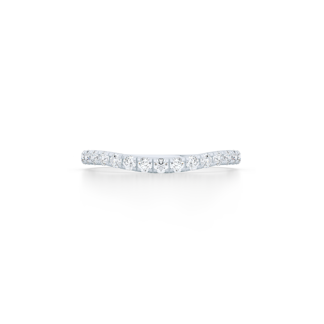 Diamond Wave Wedding Band with a whisper-thin silhouette. Hand-fabricated in solid, sustainable White Gold. Free Shipping for all USA Orders. 15-Day Returns | BASHERT JEWELRY | Boca Raton, Florida