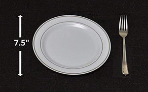 "Perfectly Sized 7.5"" Small Plate and Fork. Durable, Elegant and Perfect for Weddings, Parties, Events & Catering"