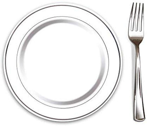 "Elegant Disposable 7.5"" Plate and 7.5"" Silver Fork. Durable and Perfect for Weddings, Parties, Events and Catering."