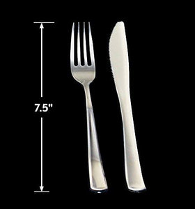 "7.5"" Durable and Elegant Plastic Silverware. Perfect size for weddings, events, and catering"