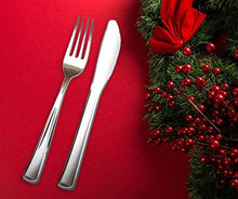 Load image into Gallery viewer, Premium Plastic Silverware perfect for hosting elegant holiday events.