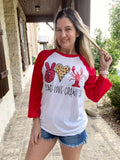 Peace Love Crawfish Graphic Tee, Cajun Raglan Shirt, Crawfish Boil Tee, Crawfish Eating Shirt, Crawfish Festival Tshirt, Mardi Gras Tee