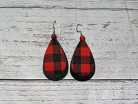 Red Buffalo Plaid Faux Leather Earrings, Fashion Earrings, Plaid Faux Leather Earrings, Fancy Earrings, Red Black Earrings, FREE SHIPPING