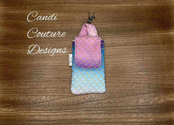 Hand Sanitizer Pouch, Hand Sanitizer Holder, Hand Sanitizer Pouch with Clip, Hand Gel Pouch, Sanitizer Pouch, Mermaid, Ombre