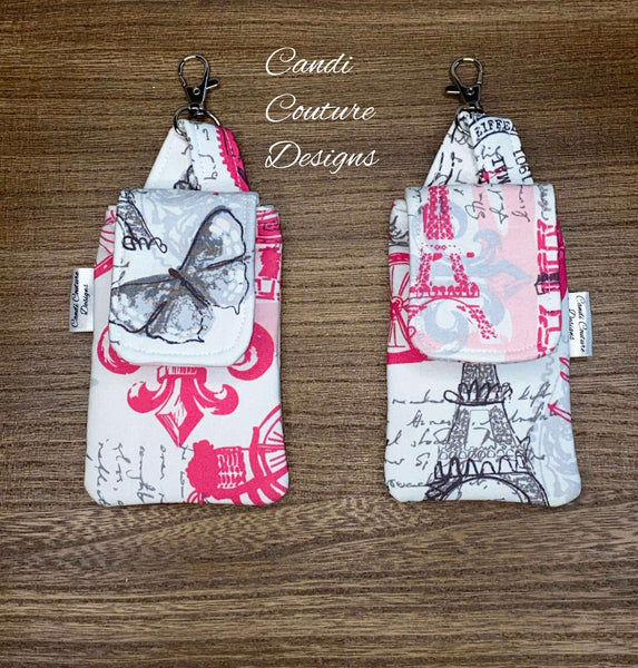 Hand Sanitizer Pouch, Hand Sanitizer Holder, Hand Sanitizer Pouch with Clip, Hand Gel Pouch, Sanitizer Pouch, Paris, Hot Pink, Gray