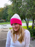 Faux Brim Beanie, Reversible, Women's Knit Beanie, Child and Adult Sizes, Hot Pink Speckles