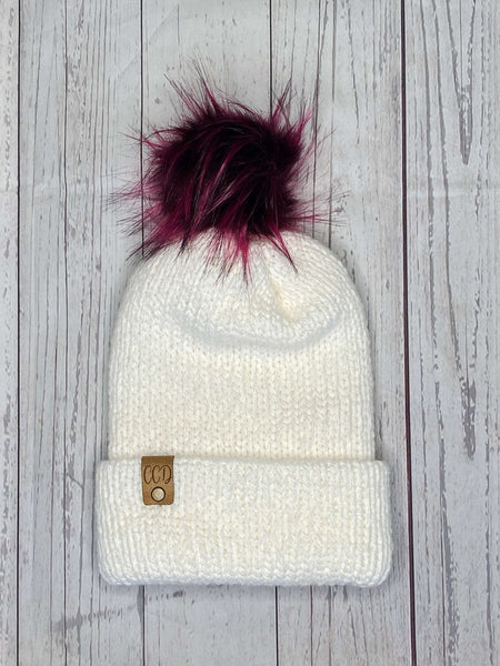 Alpaca Knit Beanie with Black Cherry Fur Puff, Adult Winter Hat, White Fall Beanie, Unisex Winter Cap, Womens Alpaca Wool Beanie, Faux Fur
