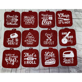 Potholder with Sayings, Oven Mitt, Funny Saying Pot Holder, Kitchen Decor, Baking Gift, Bridal Shower Gift, Housewarming Gift, Hostess Gift