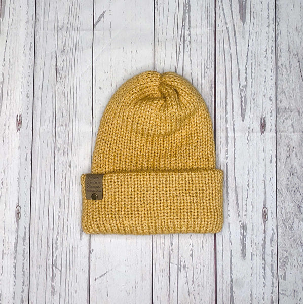 Alpaca Knit Beanie, Mustard Adult Winter Hat, Women's Winter Alpaca Beanie, Alpaca Wool Knit Cap, Slouchy Beanie for Women, Beanie for Men
