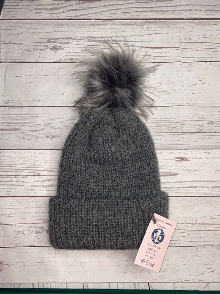 Alpaca Knit Beanie, Charcoal with Jumbo Gray Puff, Adult Winter Hat, Neutral Fall Beanie, Unisex Winter Cap, Wool Beanie, Womens Alpaca Hat