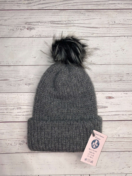 Alpaca Knit Beanie, Charcoal with Black and Gray Fur Puff, Adult Winter Hat, Neutral Fall Beanie, Winter Cap, Wool Beanie, Womens Alpaca Hat