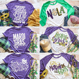 Nola Mardi Gras Raglan Shirt, Adult Mardi Gras Shirt, Green/White Mardi Gras Shirt, Carnival Tee, Women's Graphic Tee, Fat Tuesday Shirt