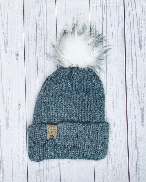 Alpaca Knit Beanie Dark Gray with Puff, Adult Winter Hat, Unisex Winter Cap, Alpaca Wool Beanie, Men's Alpaca Beanie, Womens Alpaca Hat