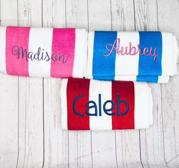 Monogrammed Beach Towels, Preppy Stripe Embroidered Beach Towel, Personalized Beach Pool Towel, Oversized Swim Towel, Luxury Cabana Towel