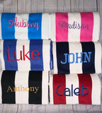 Personalized Striped Beach Towel, Monogrammed Swim Towel, Cabana Stripe Beach Towel, Embroidered Beach Towel, Custom Oversized Beach Towel