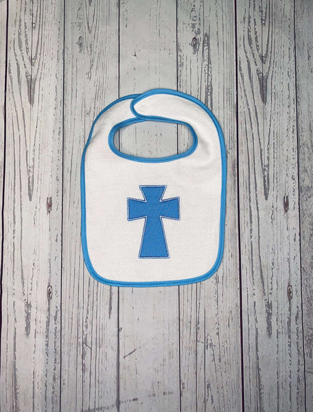 Baby Boy Baptism Bib, Baby Bib with Cross, Embroidered Baby Bib, Baby Shower Gift, Personalized Baby Bib, Christening Bib, Baptism Keepsake