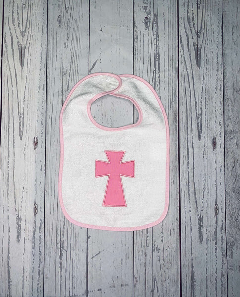 Baby Baptism Bib, Baby Bib with Cross, Embroidered Baby Bib, Baby Shower Gift, Personalized Baby Bib, Christening Bib, Baptism Keepsake